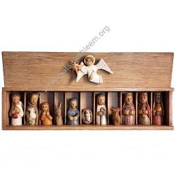 Petite crèche du pèlerin dans sa boîte en chêne